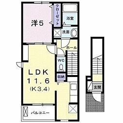 カーサ・フィオーレ 2階1LDKの間取り