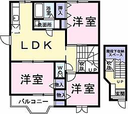 埼玉県草加市新栄2丁目の賃貸アパートの間取り
