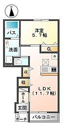 南海高野線 初芝駅 徒歩12分の賃貸アパート 1階1LDKの間取り