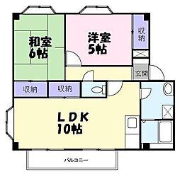 JR高崎線 吹上駅 徒歩12分の賃貸アパート 2階2LDKの間取り