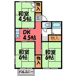 栃木県宇都宮市上横田町の賃貸アパートの間取り