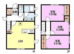 大島本町貸家 2階3LDKの間取り