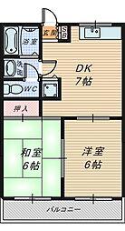 大阪府堺市北区黒土町の賃貸マンションの間取り