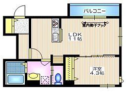 東急東横線 学芸大学駅 徒歩11分の賃貸マンション 3階1LDKの間取り