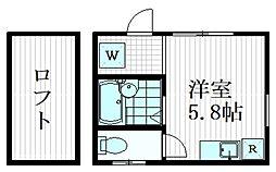 duet不動前 3階ワンルームの間取り