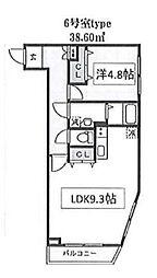 THE CLASS OMORI 3階1LDKの間取り