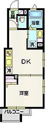 (仮称)目黒本町5丁目計画 2階1DKの間取り