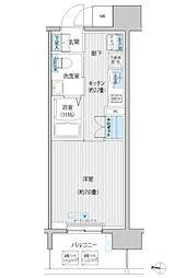 JR南武線 武蔵新城駅 徒歩6分の賃貸マンション 10階1Kの間取り