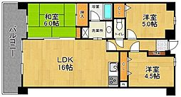 コアマンション和白東パセオ[402号室]の間取り