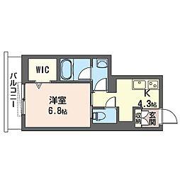 リリー・プランドール早稲田 1階1Kの間取り