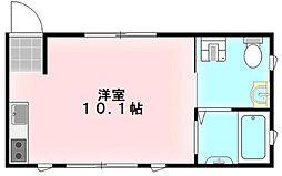 Mesange 1階ワンルームの間取り