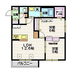 JR横須賀線 東戸塚駅 徒歩19分の賃貸マンション 2階2LDKの間取り