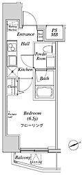 ニューガイアリルーム芝No.28 4階1Kの間取り