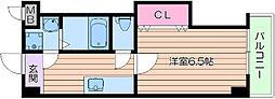 阪急千里線 千里山駅 徒歩15分の賃貸マンション 1階1Kの間取り