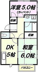東京都八王子市寺町の賃貸アパートの間取り