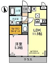 JR東北本線 大宮駅 徒歩23分の賃貸アパート 1階1LDKの間取り