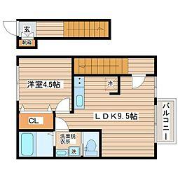 ARC'CITY ASUTO NAGAMACHI 2階1LDKの間取り