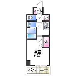 JR阪和線 美章園駅 徒歩9分の賃貸マンション 3階1Kの間取り
