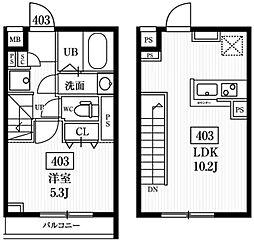 エルファーロ神楽坂 4階1LDKの間取り