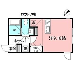エクシア町田 2階ワンルームの間取り