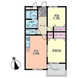 神奈川県茅ヶ崎市下町屋2丁目の賃貸アパートの間取り
