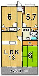 サテラ佐賀駅前[601号室]の間取り