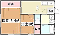 内野荘[2階]の間取り
