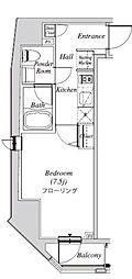 クレセント虎ノ門新橋 7階1Kの間取り