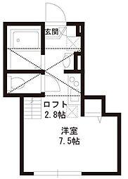 パークアレイ笹塚 3階ワンルームの間取り