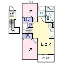 愛知県豊橋市大脇町字大脇ノ谷の賃貸アパートの間取り