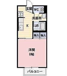 長野県上田市上野の賃貸アパートの間取り