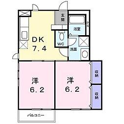 ガーデンハイツ A棟[1階]の間取り
