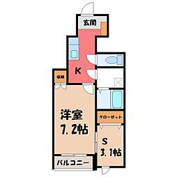 栃木県宇都宮市花房2丁目の賃貸アパートの間取り