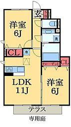 千葉県千葉市緑区おゆみ野中央6丁目の賃貸アパートの間取り