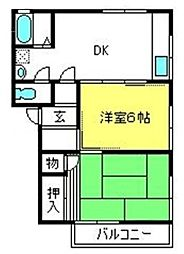 埼玉県さいたま市北区植竹町1丁目の賃貸アパートの間取り