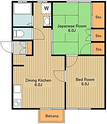 西武拝島線 西武立川駅 徒歩13分の賃貸アパート 2階2DKの間取り