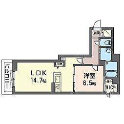 仮)ベレオ・フジコート新松戸 2階1LDKの間取り