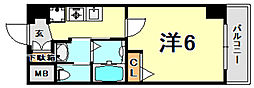 JR東海道・山陽本線 灘駅 徒歩2分の賃貸マンション 6階1Kの間取り