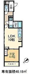 ジュネス南大塚 4階1LDKの間取り
