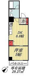 JR総武線 市川駅 徒歩5分の賃貸マンション 3階1DKの間取り