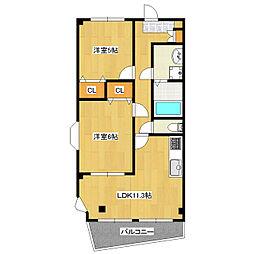 東京都葛飾区奥戸5丁目の賃貸マンションの間取り