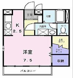カムフォタブル スペース K[1階]の間取り