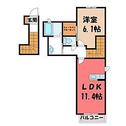 栃木県栃木市河合町の賃貸アパートの間取り