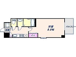 阪神なんば線 九条駅 徒歩8分の賃貸マンション 11階1Kの間取り