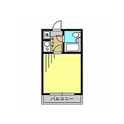 東武野田線 北大宮駅 徒歩3分の賃貸マンション 2階1Kの間取り