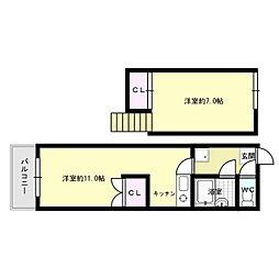 福岡県福岡市南区三宅1丁目の賃貸アパートの間取り