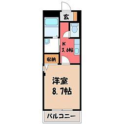 栃木県下都賀郡壬生町緑町2丁目の賃貸マンションの間取り