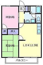 大阪府松原市新堂1の賃貸アパートの間取り