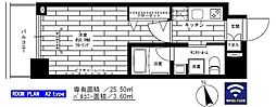 東京メトロ日比谷線 入谷駅 徒歩6分の賃貸マンション 9階1Kの間取り