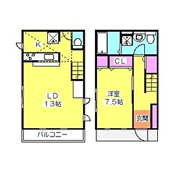 [テラスハウス] 神奈川県横浜市港北区綱島西1丁目 の賃貸【/】の間取り